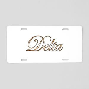 Gold Delta Aluminum License Plate
