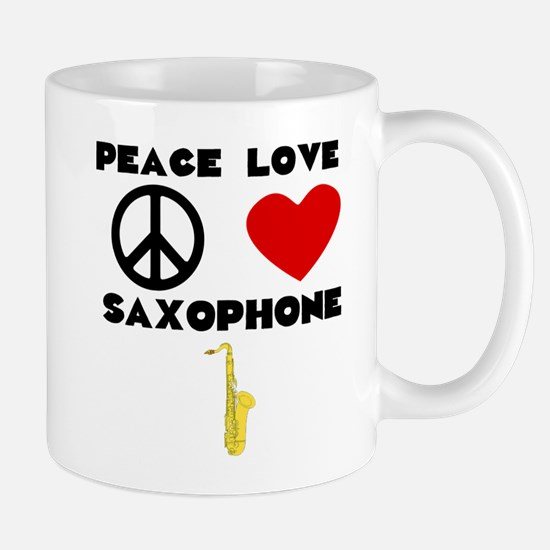 Peace Love Saxophone Mugs