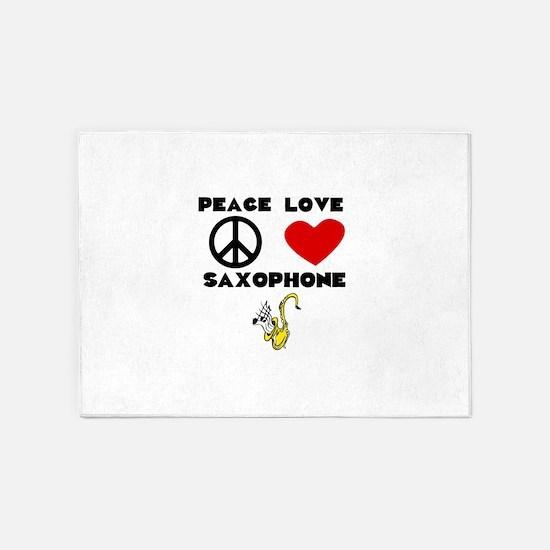 Peace Love Saxophone 5'x7'Area Rug