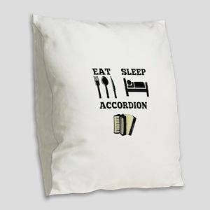 Eat Sleep Accordion Burlap Throw Pillow