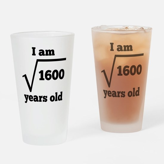 40th Birthday Square Root Drinking Glass