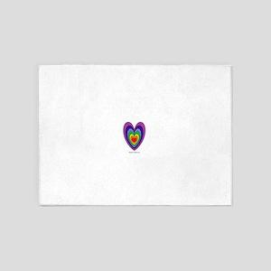 Chakras Balanced Heart Shape 5'x7'Area Rug