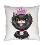 Cartoon Cat Princess (BW) Everyday Pillow
