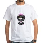 Cartoon Cat Princess (BW) White T-Shirt