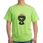 Cartoon Cat Princess (BW) Green T-Shirt
