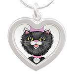 Cartoon Cat Princess (BW) Silver Heart Necklace