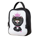 Cartoon Cat Princess (BW) Neoprene Lunch Bag