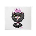 Cartoon Cat Princess (BW) Throw Blanket