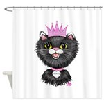 Cartoon Cat Princess (BW) Shower Curtain