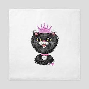 Cartoon Cat Princess (BW) Queen Duvet