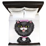 Cartoon Cat Princess (BW) King Duvet