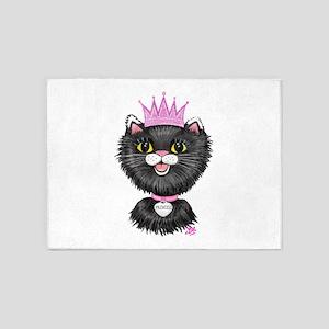 Cartoon Cat Princess (BW) 5'x7'Area Rug