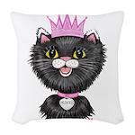 Cartoon Cat Princess (BW) Woven Throw Pillow