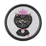Cartoon Cat Princess (BW) Large Wall Clock