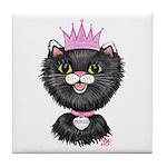 Cartoon Cat Princess (BW) Tile Coaster