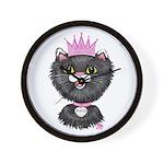 Cartoon Cat Princess (BW) Wall Clock