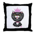 Cartoon Cat Princess (BW) Throw Pillow