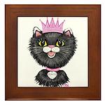 Cartoon Cat Princess (BW) Framed Tile