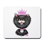 Cartoon Cat Princess (BW) Mousepad