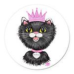 Cartoon Cat Princess (BW) Round Car Magnet