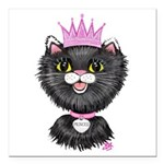 Cartoon Cat Princess (BW Square Car Magnet 3