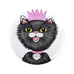 Cartoon Cat Princess (BW) Button