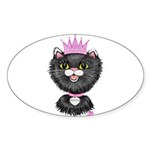 Cartoon Cat Princess (BW) Sticker (Oval 10 pk)