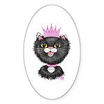 Cartoon Cat Princess (BW) Sticker (Oval 50 pk)