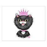 Cartoon Cat Princess (BW) Small Poster