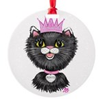 Cartoon Cat Princess (BW) Round Ornament