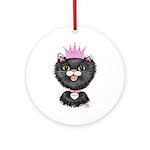 Cartoon Cat Princess (BW) Ornament (Round)