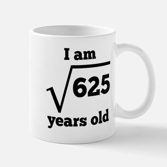 25th Birthday Square Root Mugs