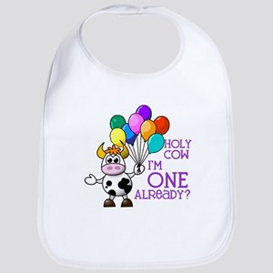 Holy Cow, I'm ONE already? (Purple) Bib