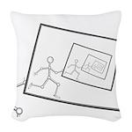 A Robot Running Into Itself Woven Throw Pillow