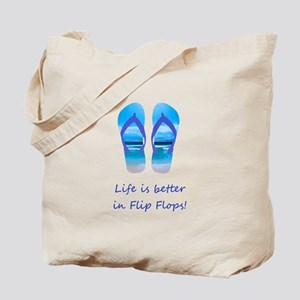 Life is Better in Flip Flops Fun Summer art Tote B