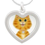 Orange Tabby Cat Princess Silver Heart Necklace