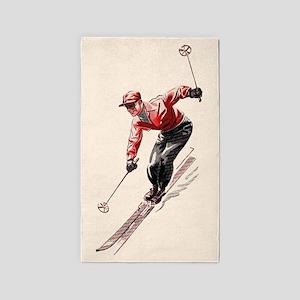 Retro Vintage Downhill Skier Area Rug