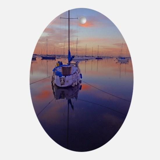 Cute Sailboats Oval Ornament
