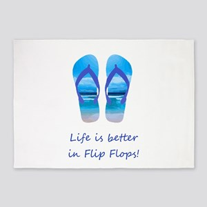 Life is Better in Flip Flops Fun Summer art 5'x7'A