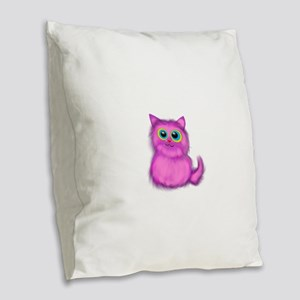 pink Kitten Burlap Throw Pillow