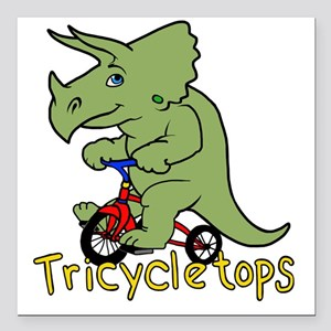 "Triceratops Bicycle Square Car Magnet 3"" x 3"""