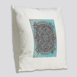 abstract turquoise cross oval Burlap Throw Pillow