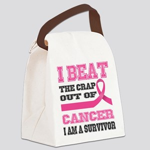 Beat the Crap Out of Cancer Canvas Lunch Bag