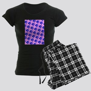 Pink Blue Floral For You Suk Women's Dark Pajamas