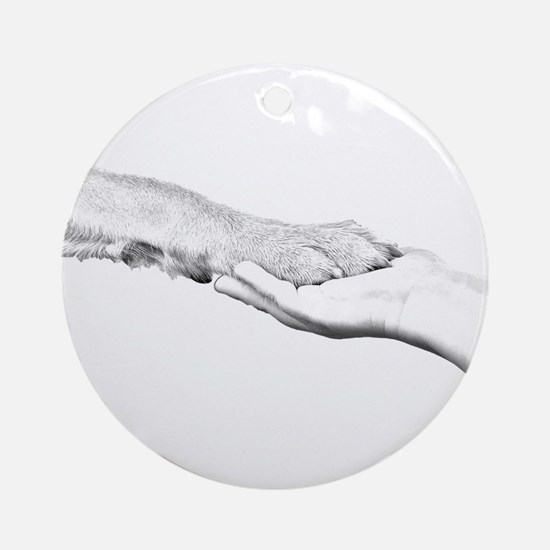 dog paw and human hand Ornament (Round)
