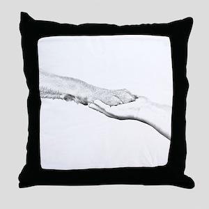 dog paw and human hand Throw Pillow