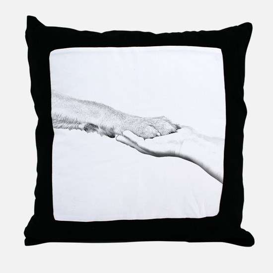 dog paw and human hand Throw Pillow