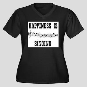 SINGING Women's Plus Size V-Neck Dark T-Shirt