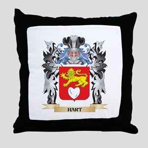 Hart Coat of Arms - Family Crest Throw Pillow