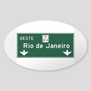 Rio de Janeiro Road Sign, Brazil Sticker (Oval)